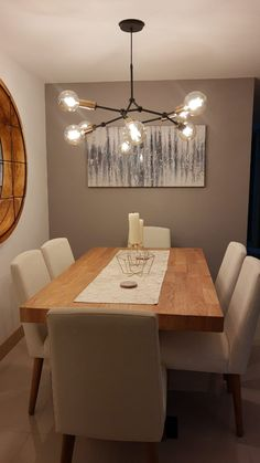 Dining Room Furniture Design, Home Design Living Room, Dining Room Wall Decor, Dining Room Inspiration, Home Interior Design, Kitchen, Dining Room Lighting, Home Decor Ideas, Home Decor