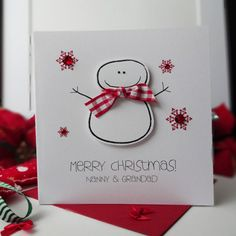Cute Snowman Personalised & Handmade Card from Simply Lovely.