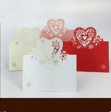 100 Pz/lotto Elegante Scavato Laser Cut Love Heart Shaped Wedding Nome Luogo Carta Tabella Mark Festa di Nozze Favori Eventi regali(China (Mainland))