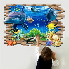 Dolphin Mural Decals Removable Wall Stickers Home Decor Art Vinyl Wall Stickers Wallpaper, Wall Mural Decals, Kids Wall Murals, Kids Room Wall Decals, Murals For Kids, Removable Wall Stickers, Wall Stickers Home Decor, Wall Art, Room Wallpaper