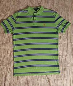 b74a56cb0 Ralph Lauren Polo Short Sleeve Shirt Green with Blue White Stripes Medium  Size  fashion