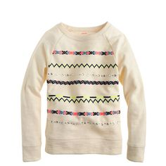Girls' embroidered stripe sweatshirt - knits & tees - Girl's new arrivals - J.Crew