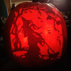 Cat Walk Carved on a real pumpkin by WynterSolstice using a Stoneykins pattern