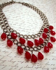 Red statement necklace.