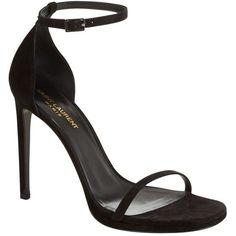 Saint Laurent Jane 110 Suede Sandal (1.180 BRL) ❤ liked on Polyvore featuring shoes, sandals, heels, sapatos, shoes // socks, peep-toe shoes, ankle strap stilettos, stiletto sandals, ankle strap shoes and party sandals