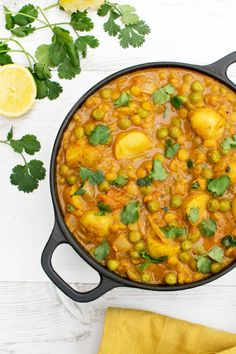 "With its velvety coconut sauce, this New Potato & Pea Curry with Yellow Split Peas makes a comforting Spring recipe. I serve it with naan bread to ""sponge off"" the fragrant sauce . Make sure you cut the potatoes evenly so they all cook at the same time. Save"
