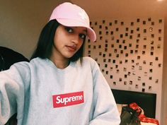 Grey Supreme Box logo girl places plus faces cap P+F Pink Supreme Hoodie,