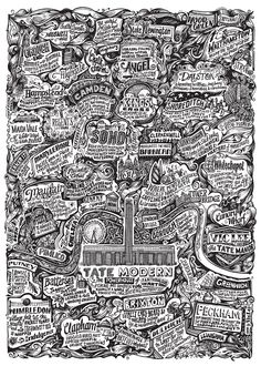 Vic Lee has created an incredible intricate map of London which features the Tate Modern in the centre. Available to buy as poster from Tate Shop.