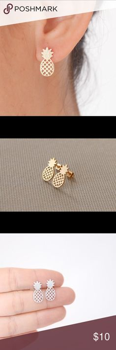 Pineapple Earrings Cute silver pineapple earrings. Zinc alloy. New in package. Available color: silver Jewelry Earrings