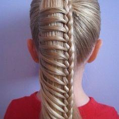 Half French braided ponytail