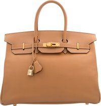 Hermes 35cm Gold Courchevel Leather Birkin Bag with Gold Hardware B Square, 1998 Very Good Cond