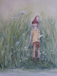 Fantasy Watercolour Painting. Original. Meadow , Pixie. by ArtWorkBySue on Etsy