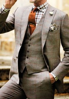 37 trendy ideas wedding suits men winter grey wedding wedding tuxedos for groom 2019 new burgundy 2 pieces set groomsmen best man suit men s suits bridegroom jacket+pants+bow source by nikkiijae Mode Masculine, Tweed Suits, Mens Suits, Mens Grey Wedding Suits, Grey Suits, Vintage Wedding Suits, Plaid Suit, Grey Tweed Suit, Mens Tweed Suit