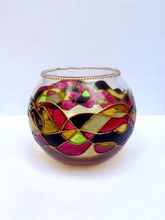Abstract vase Candle holder Glass candleholder Glass painting Stained glass Tea light