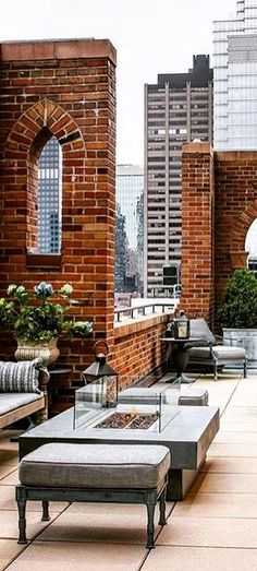 Roof top patio with brick details