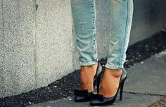 denim and heels