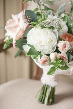 Rosebud and Peony Bouquet in Blush and White | Audrey Rose Photography | http://heyweddinglady.co...