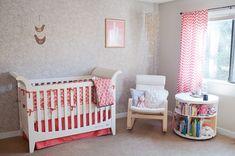 coral and gray baby, nurseri tabl, nurseries, coral nurseri, tabl idea