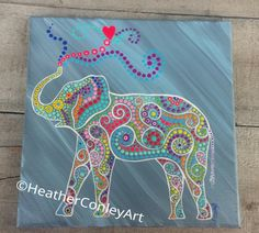 Colorful elephant painting on 10×10 canvas dot painting with swirls grey and blue background