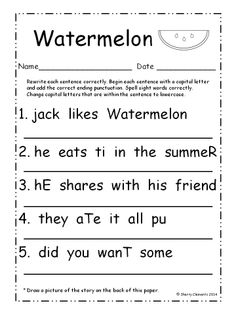 Fine Fix It Up Sentences July Students write each sentence correctly by capitalizing the of Sentence Correction Worksheets 1st Grade Writing Worksheets, First Grade Writing, Kindergarten Writing, Writing Lessons, Teaching Writing, Writing Practice, Writing Activities, Literacy, Esl
