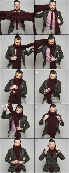 Tie the Warmest Scarf Knots Mens Fashion, Fashion Outfits, Fashion Tips, Men Winter Fashion, Fashion Scarves, 1950s Fashion, Vintage Fashion, Scarf Knots, Style Masculin