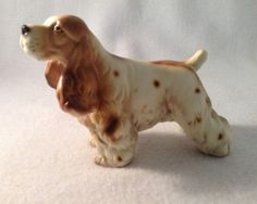 Vintage Springer #Spaniel #Dog Figurine Statue Sculpture Japan Tan White