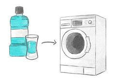 Wäsche waschen Tricks 1. Mundwasser gegen Mief in der Waschmaschine  Was bei uns funktioniert, klappt auch bei der Waschmaschine! Trick gegen müffelnde Gerüche: Einfach ein halbes Schnapsglas voll Mundwasser in die Maschine geben und das Kurzwaschprogramm durchlaufen lassen. Schon riecht alles angenehm frisch.