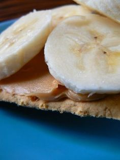 Graham Cracker, PB, & Banana or roll a PB covered banana in Rice Crispies, yum!