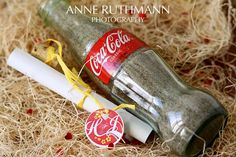 Message in a bottle wedding Invitation  You know it's going to be a fun wedding when the invitation arrives in a Coca-Cola bottle full of sand and smells of coconut!!