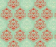 Turquoise & Red Girl Nursery Fabric | Baby girl
