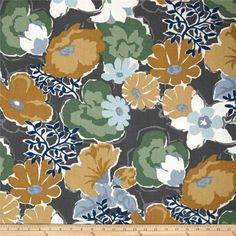 Robert Allen @ Home Splashy Garden Greystone from @fabricdotcom  Screen printed on cotton duck; this versatile, medium weight fabric is perfect for window accents (draperies, valances, curtains and swags), accent pillows, bed skirts, duvet covers, upholstery and other home decor accents. Create handbags, tote bags, aprons and more. Colors include, grey, blue, gold, teal, mint and white. This fabric has 50,000 double rubs.