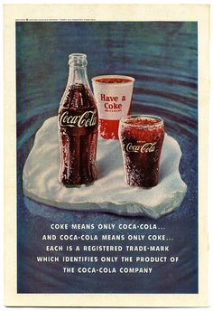 Coca-cola old, year 1960 in EE.UU