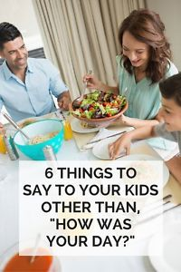 "Parents often talk about how kids won't say much when they're asked, ""How was your day today?"" at the dinner table. I've noticed this even with my kindergartner, and it got me thinking that maybe the problem. Parenting Advice, Kids And Parenting, Kid Dates, Affirmations, My Children, Helping Children, 4 Kids, Kids Corner, Just Kidding"