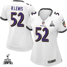 Women\s Nike Baltimore Raven\s http://#52 Ray Lewis Elite White With Super Bowl Patch Jersey$109.99