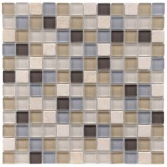 SomerTile 12x12-in Reflections Square 1-in River Glass/Stone Mosaic Tile (Pack of 10) | Overstock.com