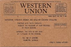 Telegram wedding invitations. Created by Greenwich Letterpress, I love how simple and sweet they are…