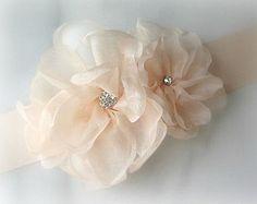 Pale Blush Sash, Petal Pink Bridal Sash, Wedding Belt with Organza Flowers -  MIMOSA