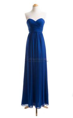 Sweetheart Neck Chiffon Long Royal Blue Empire Waist Bridesmaid Dress in Blue Chiffon BDS-CA070 - BridesmaidCA.com