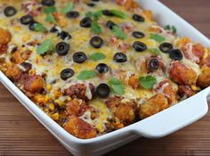 Tater Tot Taco Bake -- made this recently, and it's SO GOOD