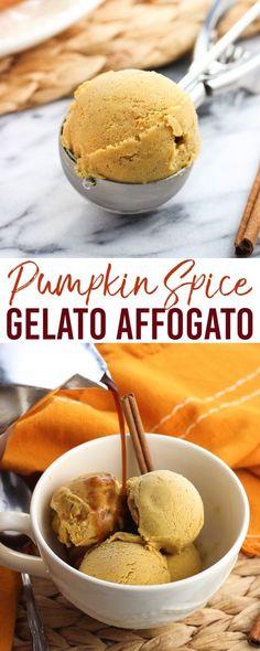 Pumpkin spice gelato affogato is a fun dessert take on a coffee shop favorite! Easy, no-cream homemade pumpkin spice gelato is covered in freshly brewed espresso for an affogato inspired by a Starbucks pumpkin spice latte.