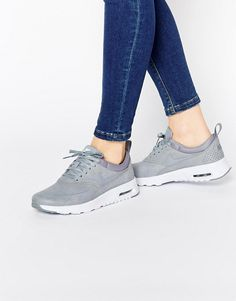 Nike Platinum Grey Print Air Max Thea Trainers (550 SAR