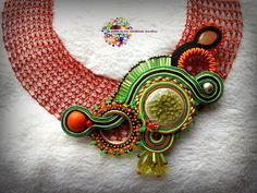 Wire crochet and Soutache Embroidery Design - Necklace
