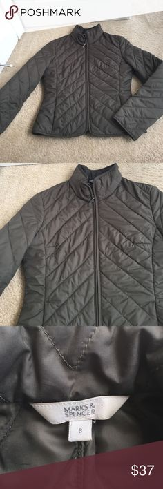 Marks & Spencer green padded jacket Marks & Spencer green padded fitted jacket. The perfect accent to your fall wardrobe. Inner lining has pockets. British size 8 translates to a size 6 in the US. Marks & Spencer Jackets & Coats