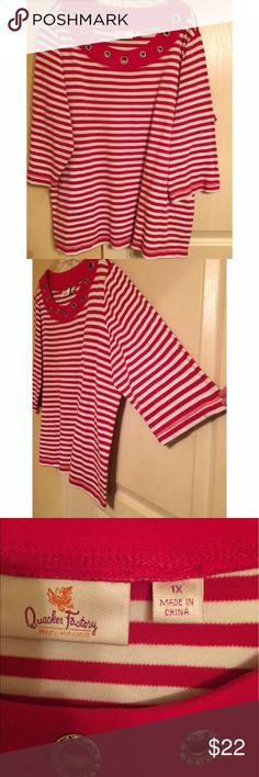 Quacker Factory red and white striped top Quacker Factory red and white striped top with grommet detail along neckline. Excellent condition! Size 1X Quacker Factory Tops