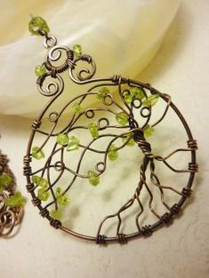 Peridot and antique brass pendant OOAK wire wrapped jewelry. $44.00, via Etsy. by Knot2Shabby