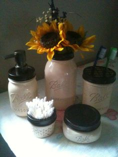 Mason Jar Soap Dispenser   Bronze 5 PC bath set http;//talona.etsy.com