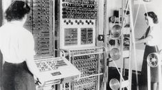 Wrens (members of the Women's Royal Naval Service) at Bletchley with Colossus, the world's first electronic programmable computer.