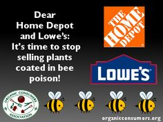 The OCA, along with Friends of the Earth U.S., SumOfUs and other protectors of the environment have called on Home Depot and Lowe's to stop selling plants coated in #neonicotinoids. #Neonics, as they're not-so-affectionately called, are a class of pesticides considered largely responsible for killing off the honeybee. But we need your help! Sign the petition and forward it to a friend!