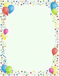 Free party border templates including printable border paper and clip art versions. Vector images are also available. Birthday Balloons Clipart, Balloon Clipart, Borders For Paper, Borders And Frames, Page Borders Free, Page Boarders, Printable Border, Border Templates, Birthday Frames
