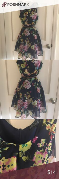 Love culture mini dress size M Love Culture mini flowing dress, size medium, with a navy blue undertone and rich pink yellow and green flowers, belt is included in brown. Wear this with flats, no accessories needed, be carefree. Love Culture Dresses Mini